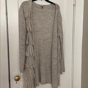 Brown fringe long sweater, Charlotte Russe